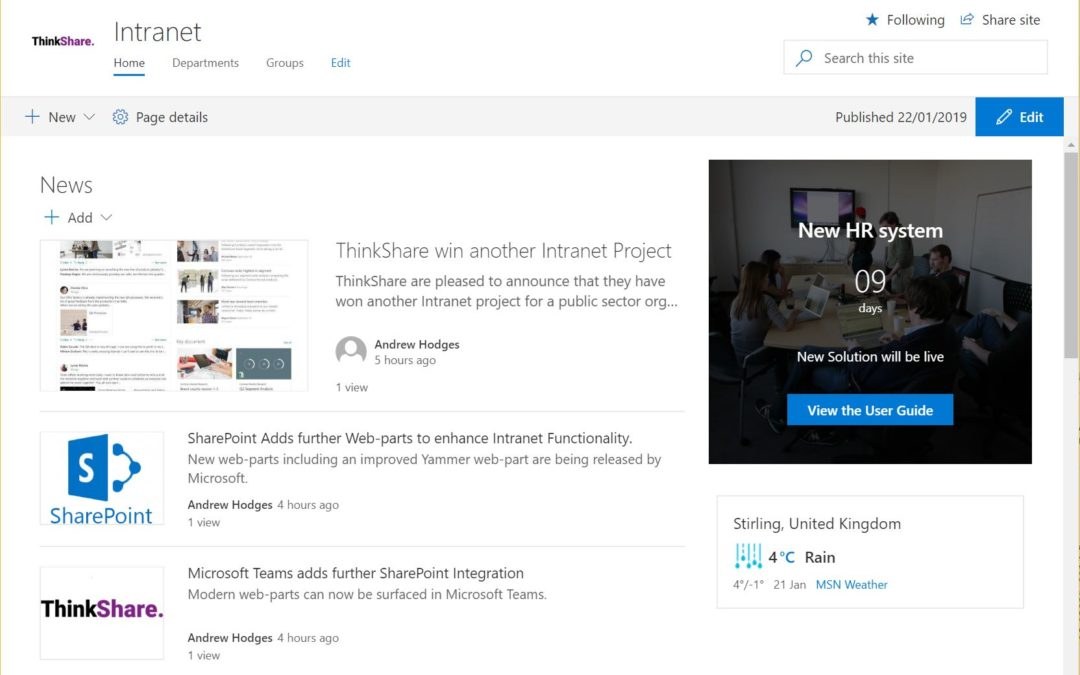 SharePoint Modern Intranets